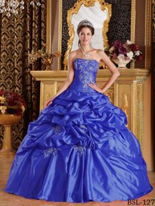 Blue Taffeta Quinceanera Gown Dress with Pick-ups and Appliques