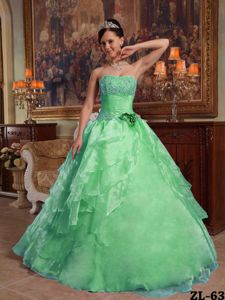 Green Organza Quinceanera Dress with Beading and Ruffles