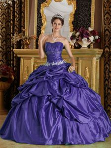 Purple Taffeta Quinceanera Dress with Pleated Bust and Beading