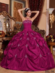 Fuchsia Strapless Taffeta Quinceanera Gown Dress with Ruches