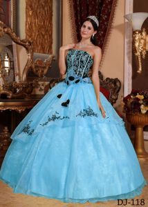 Blue and Black Quinceanera Dress with Embroidery and Rolling Flowers
