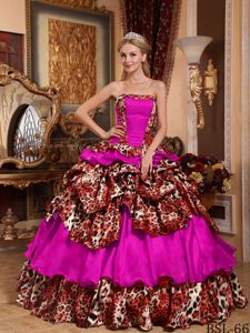 Fuchsia Strapless Sweet 16 Dresses with Layers by Leopard Print Fabric