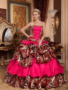 Dress For Quince by Coral Red and Leopard Print Fabric with Strapless Neck