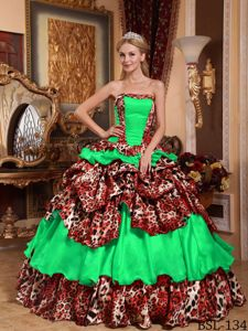 Green Leopard Print Sweet Sixteen Quinceanera Dresses with Pick-ups
