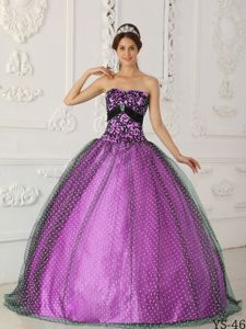 Major Pageants Black and Purple Taffeta and Tulle Quinceanera Dress with Appliques