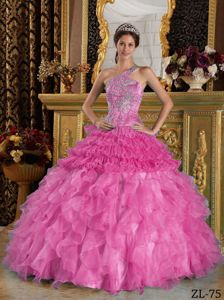 Hot Pink One Shoulder Quinceanera Dress with Beading and Ruffled Skirt