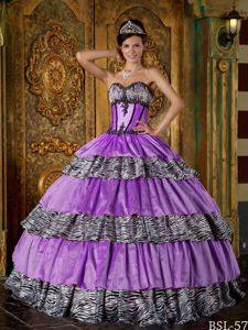 Zebra Print Quinceanera Gown Dress with Boning details and Layered Skirt