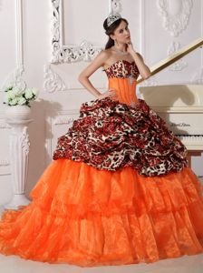 Orange Leopard Print Sweet 16 Quince Dresses with Sweep / Brush Train