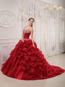 Wine Red Quinceanera Gown Dress with Spaghetti Straps and Court Train