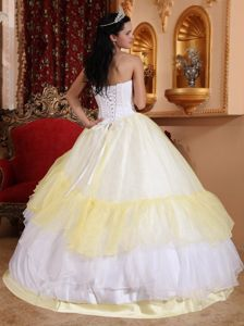 Light Yellow and White Layered Quince Dress with Embroidery on Bodice