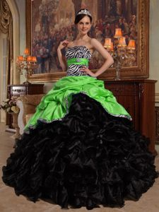Green and Black Zebra Print Dress for Quince with Sash and Ruffled Skirt