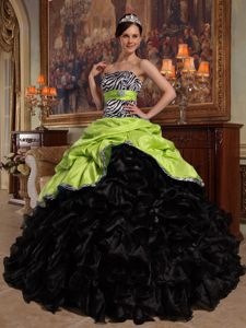 Yellow Green and Black Quinceanera Dress with Bodice by Zebra Print Fabric