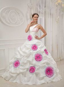White One Shoulder Quinceanera Gown with Beading and Fuchsia Flowers