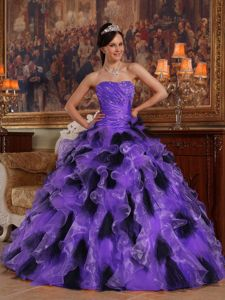 Purple and Black Strapless Quinceanera Dress with Beading and Ruffled Skirt