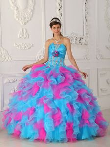 Blue and Pink Sweet 16 Quinceanera Dresses with Appliques and Flowers