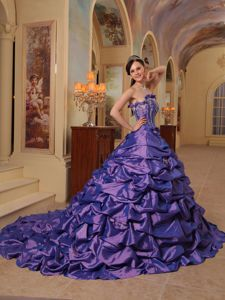 Purple Strapless Quinceanera Dress by Taffeta with Pick-ups and Court Train
