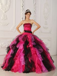 Multi-color Strapless Quinceanera Dress with Appliques and Ruffles for 2013