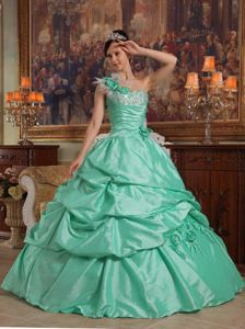 Apple Green Dress For Quinceanera with Beaded Decorate Bust and Pick-ups