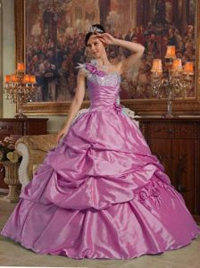 Fuchsia One Shoulder Quinceanera Dress by Taffeta with Handmade Flowers