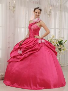 One Shoulder Quinceanera Gown with Beading and Pick-ups