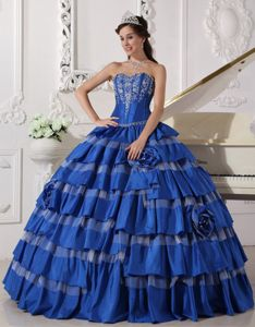 Blue Sweetheart Quinceanera Gown with Embroidery and Layered Skirt