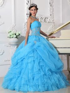 Aqua Blue Strapless Quinceanera Dress with Appliques and Ruffles for 2013
