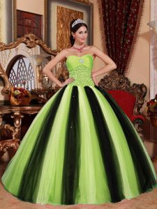 Spring Green and Black Quinceanera Dress with Beaded Waist and Ruches
