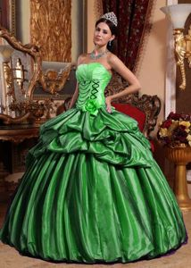 Green Dress for Quinceanera on Sale by Taffeta and Tulle with Pick Ups