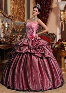 Pink Strapless Quinceanera Gown Dress with Pleats and Hand Made Flower