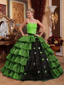 Lime Green and Black Quinceanera Dress with Appliques and Layered Skirt