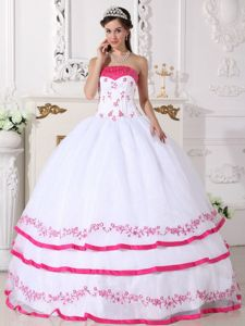 White and Hot Pink Strapless Dress For Quinceanera with Boning Details