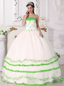 White and Green Quince Gown with Beaded Decorate Bust and Embroidery