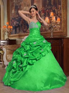 Lime Green Taffeta Quince Gowns with Beading and Asymmetrical Pick Ups