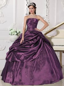 Eggplant Purple Dress For Quinceaneras with Beading and Ruffled Layer