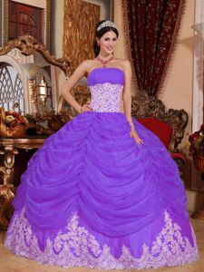 Purple Strapless Quinceanera Gown with Ruffled Layered Skirt and Appliques