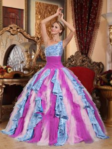 Multi-color Zebra Print Decorated Quinceanera Dress with One Shoulder Neck