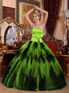 Neon Green and Black Quinceanera Gown with Bow and Ruffled Skirt Keyshia Coles dress