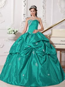 Discounted Turquoise Quinceanera Dress with Pick Ups and Appliques