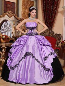 2013 Lavender and Black Quinceanera Dress with Appliques and Ruches