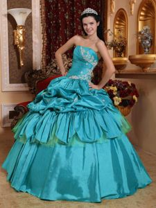 Teal Taffeta Strapless Quinceanera Gown Dress with Appliques and Pick ups