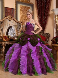 Multi-color Quinceanera Gowns with Beading and Ruffled Skirt by Tulle