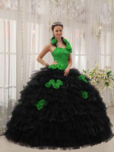 Green and Black Quinceanera Dress with Halter Top Neckline and Ruffled Skirt