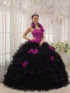 Fuchsia and Black Halter Sweet 15 Dress with Handmade Flowers and Ruffles