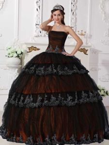 Brown Strapless Taffeta Quinceanera Dress with Black Tulle Overlay
