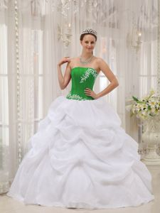 White and Green Sweet Sixteen Dresses with Embroidery and Pick Ups