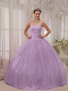 Lavender Sweet 15 Dresses with Beading Bodice and Skirt by Sequined Fabric