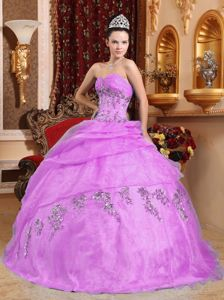 Lavender Sweetheart Quinceanera Dress with Embroidery and Beading
