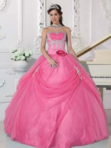 Pink Sweet 16 Quinceanera Dresses with Appliques and Hand Made Flower