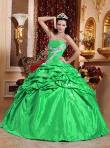 Discounted Green Strapless Quinceanera Gown with Appliques and Pick Ups