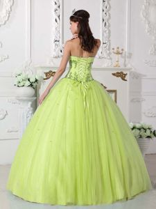 Yellow Green Sweet 15 Dresses by Tulle and Taffeta with Embroidery